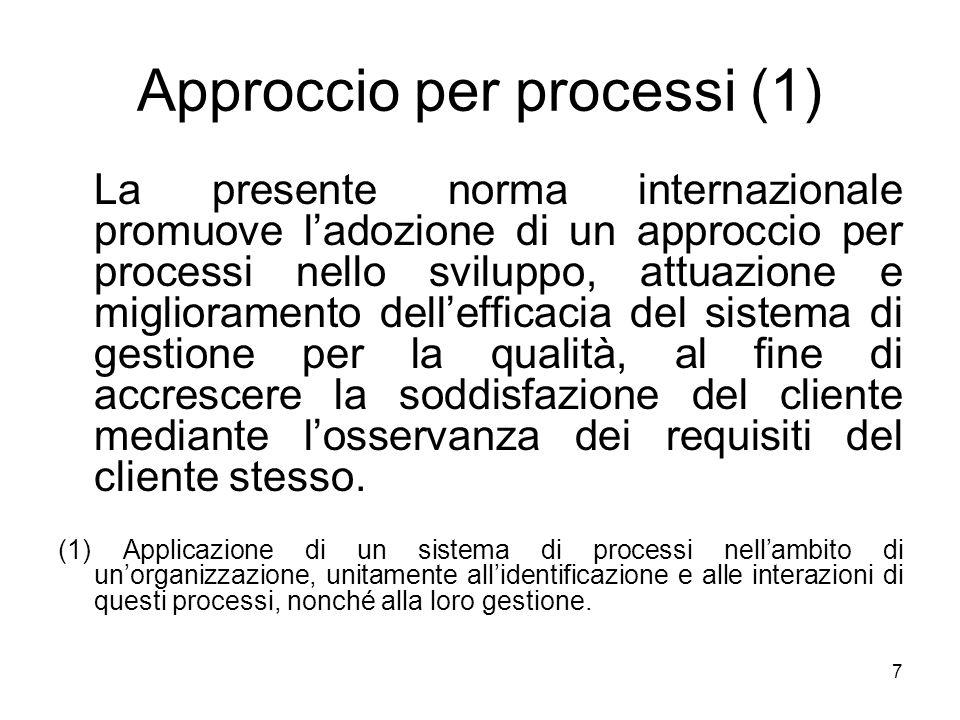 7 Approccio per processi (1) La presente norma internazionale promuove ladozione di un approccio per processi nello sviluppo, attuazione e miglioramen