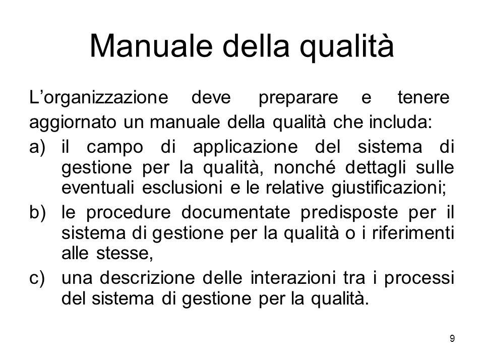 9 Manuale della qualità Lorganizzazione deve preparare e tenere aggiornato un manuale della qualità che includa: a)il campo di applicazione del sistem