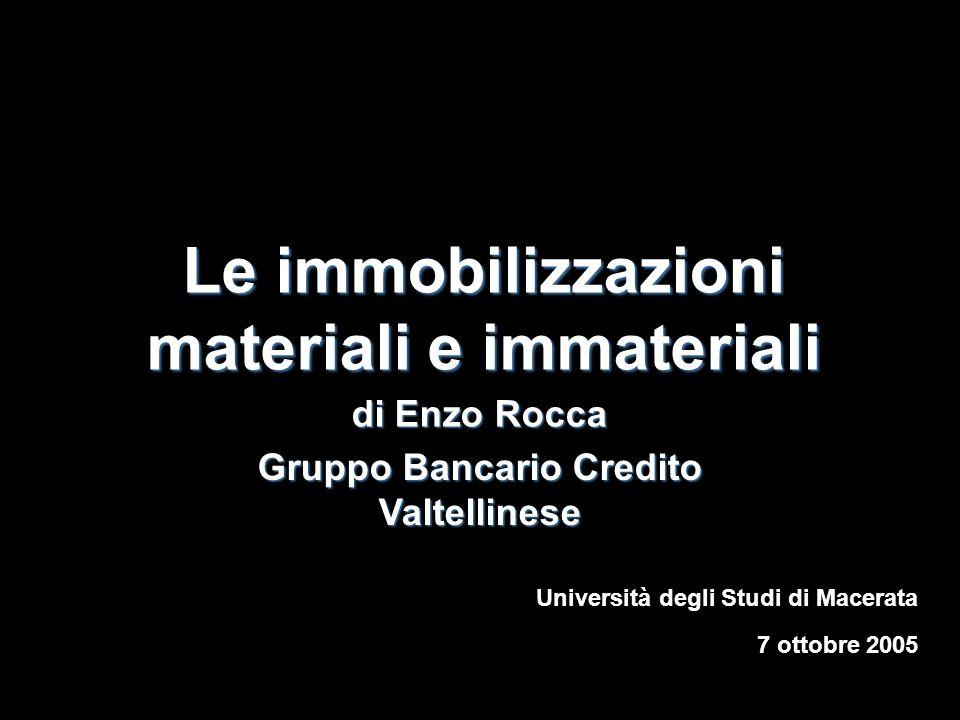 Le immobilizzazioni materiali e immateriali di Enzo Rocca 7 ottobre 2005 Università degli Studi di Macerata Gruppo Bancario Credito Valtellinese