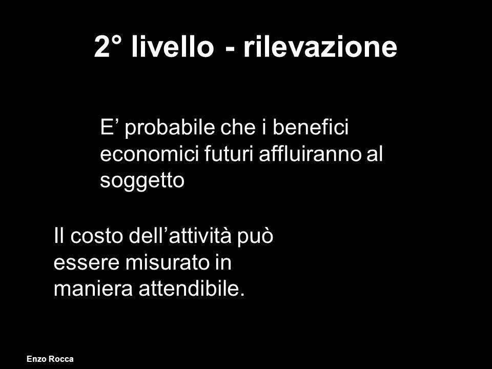 2° livello - rilevazione E probabile che i benefici economici futuri affluiranno al soggetto Il costo dellattività può essere misurato in maniera attendibile.