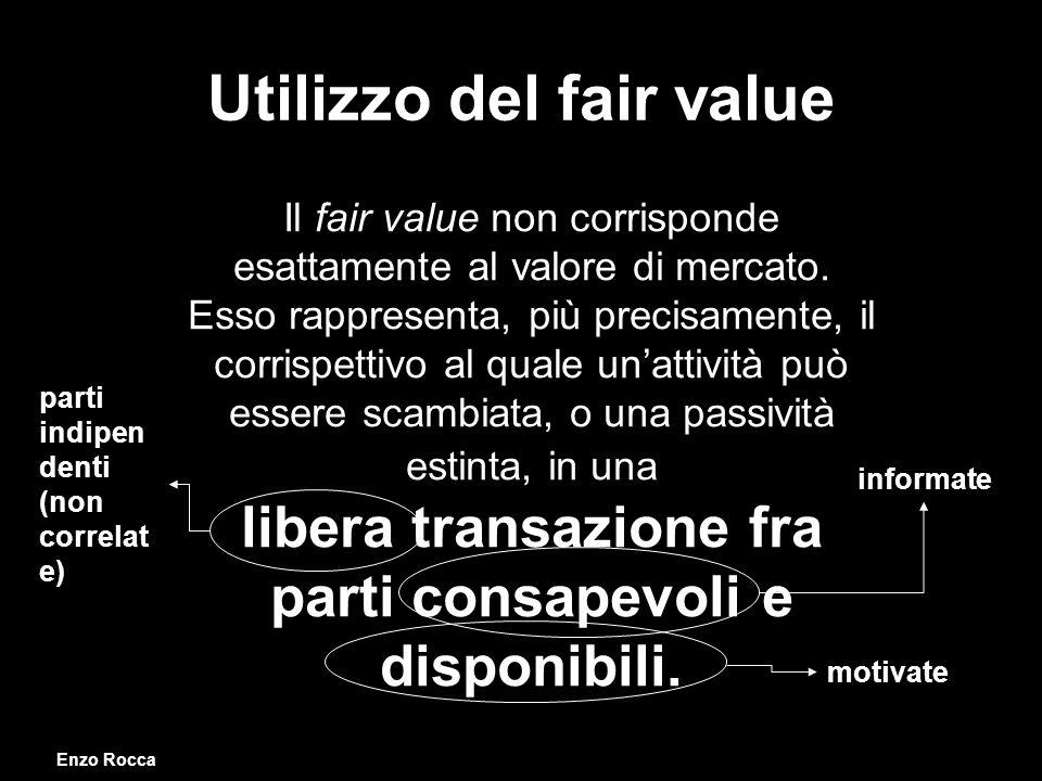 Utilizzo del fair value Il fair value non corrisponde esattamente al valore di mercato.