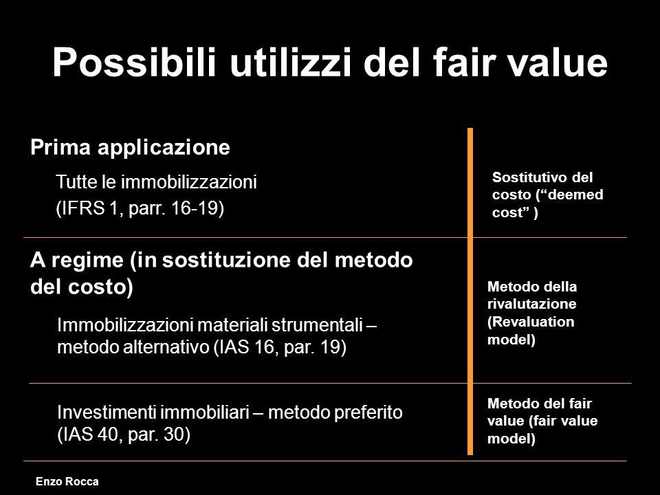 Possibili utilizzi del fair value Tutte le immobilizzazioni (IFRS 1, parr.