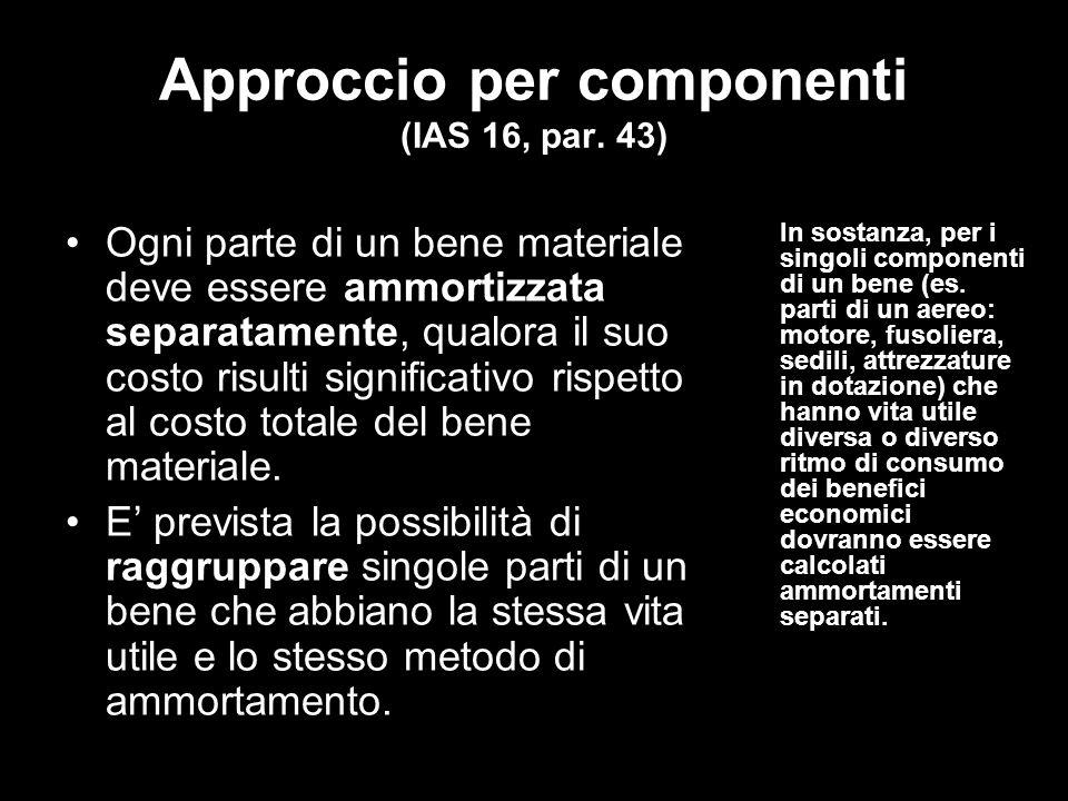 Approccio per componenti (IAS 16, par.