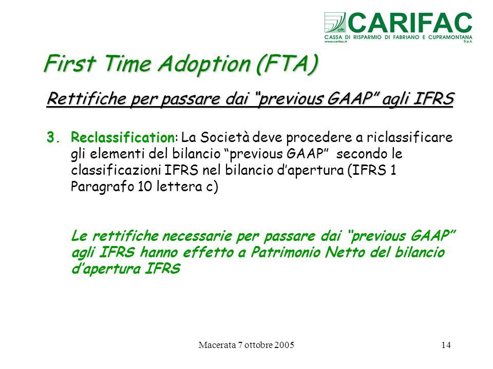 Macerata 7 ottobre 200514 First Time Adoption (FTA) Rettifiche per passare dai previous GAAP agli IFRS 3.Reclassification: La Società deve procedere a