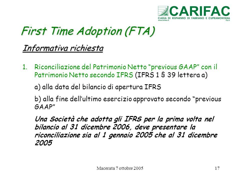 Macerata 7 ottobre 200517 First Time Adoption (FTA) Informativa richiesta 1.Riconciliazione del Patrimonio Netto previous GAAP con il Patrimonio Netto