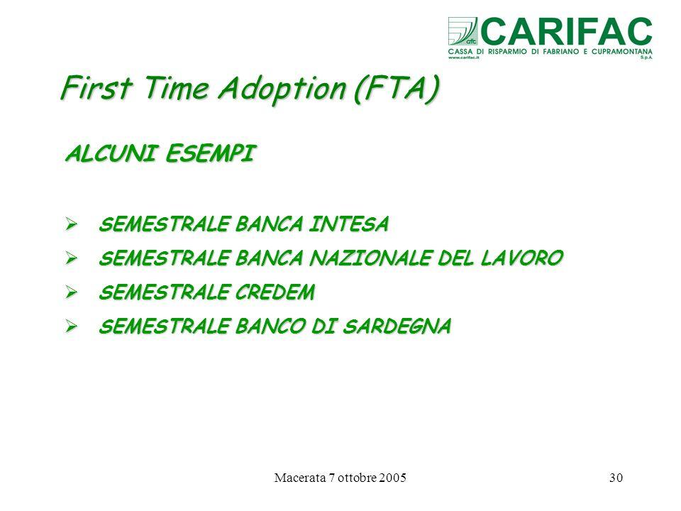 Macerata 7 ottobre 200530 First Time Adoption (FTA) ALCUNI ESEMPI SEMESTRALE BANCA INTESA SEMESTRALE BANCA INTESA SEMESTRALE BANCA NAZIONALE DEL LAVOR