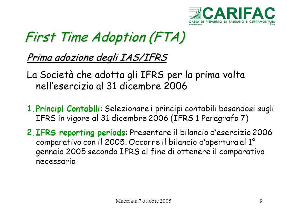 Macerata 7 ottobre 200520 First Time Adoption (FTA) Esenzioni facoltative dallapplicazione di alcuni IFRS in sede di prima applicazione 2.Valutazioni al FAIR VALUE o rivalutazioni come valore sostitutivo del costo ai fini IFRS (IFRS 1 § 16-19) Unimpresa in sede di prima adozione degli IFRS può scegliere : Di valutare un elemento delle immobilizzazioni materiali alla data di transizione agli IFRS a valori correnti ed utilizzare tale valore come sostitutivo del costo Segue….