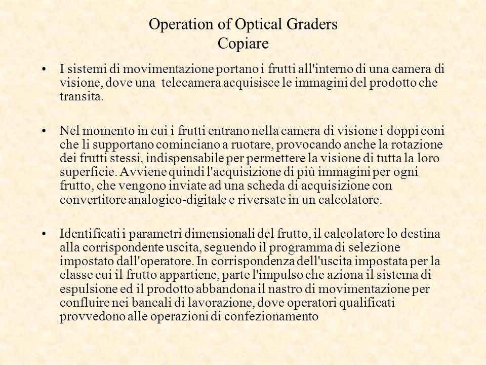 Operation of Optical Graders Copiare I sistemi di movimentazione portano i frutti all'interno di una camera di visione, dove una telecamera acquisisce