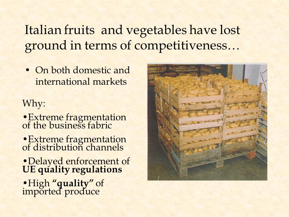 Italian fruits and vegetables have lost ground in terms of competitiveness… On both domestic and international markets Why: Extreme fragmentation of t