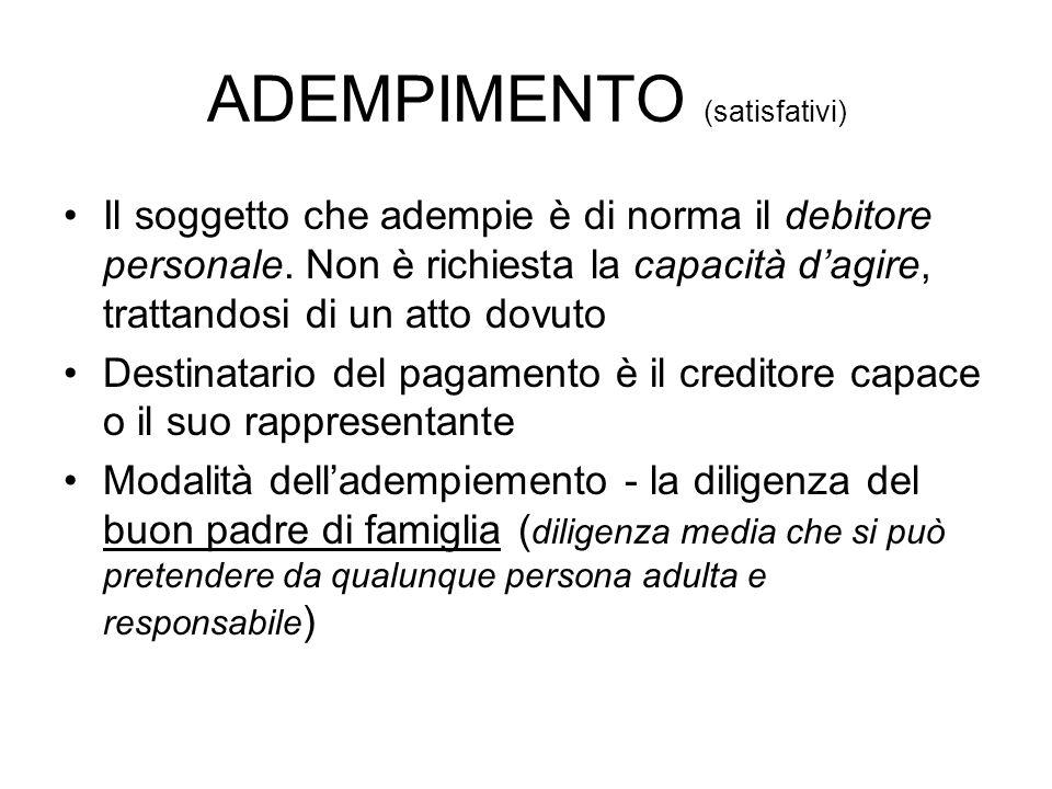 ADEMPIMENTO (satisfativi) Il soggetto che adempie è di norma il debitore personale. Non è richiesta la capacità dagire, trattandosi di un atto dovuto