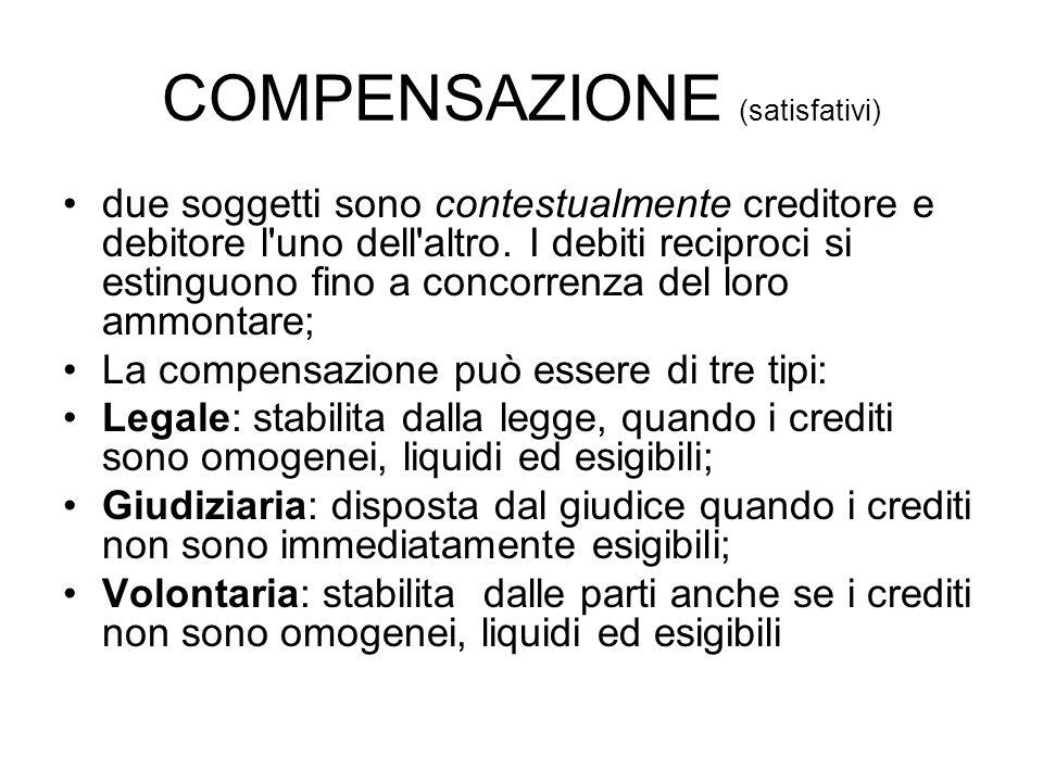 COMPENSAZIONE (satisfativi) due soggetti sono contestualmente creditore e debitore l'uno dell'altro. I debiti reciproci si estinguono fino a concorren
