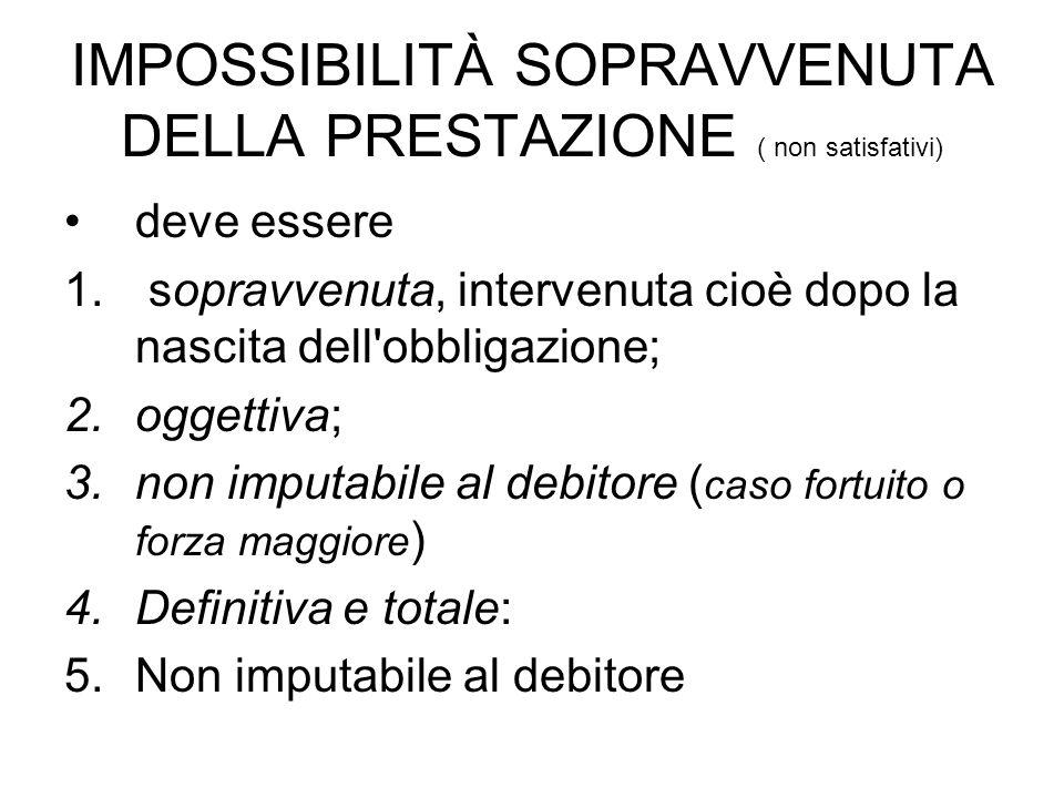 IMPOSSIBILITÀ SOPRAVVENUTA DELLA PRESTAZIONE ( non satisfativi) deve essere 1. sopravvenuta, intervenuta cioè dopo la nascita dell'obbligazione; 2.ogg