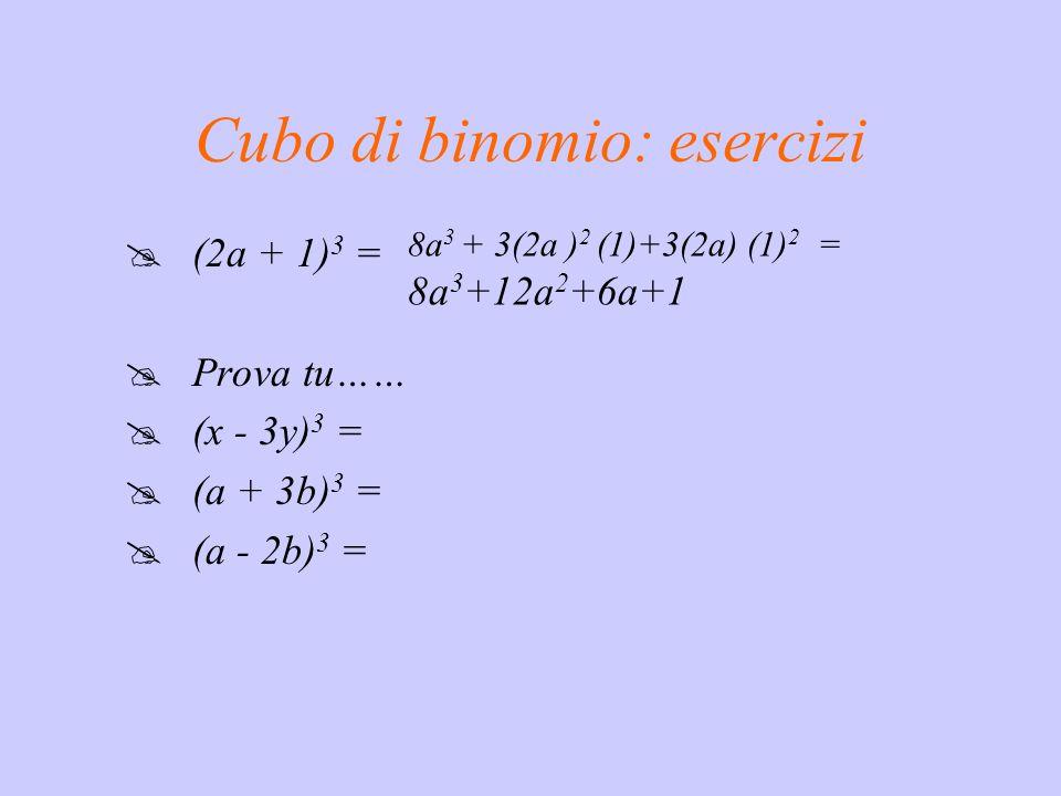 Cubo di binomio: la regola ( a + b ) 3 = a 3 + 3a 2 b + 3ab 2 + b 3 Il cubo di un binomio è un quadrinomio avente per termini: il cubo del 1° monomio