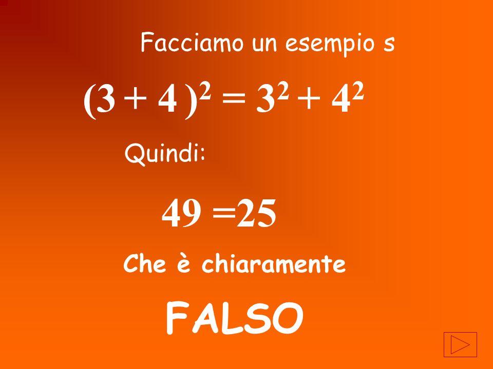 Generalizzando quindi è sbagliato dire (a + b ) 2 = a 2 + b 2 ERRORE!!!!!!!!!