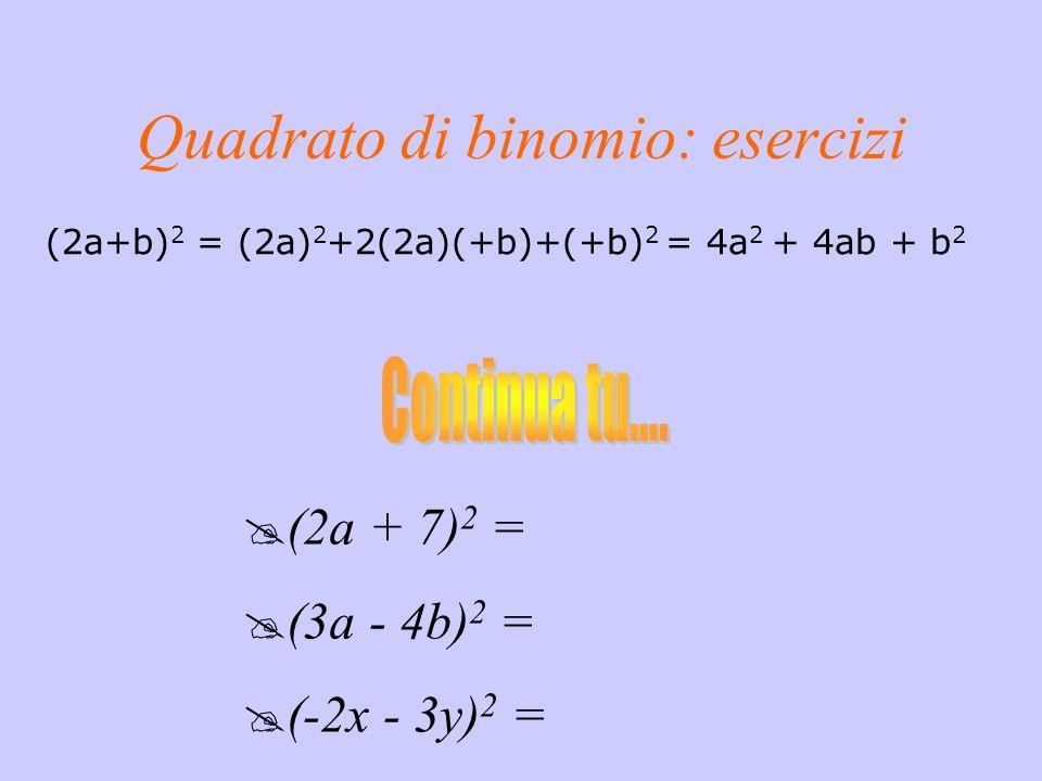 (a + b ) 2 = Quadrato del primo termine Quadrato del secondo termine Doppio prodotto del primo per il secondo termine a 2 + 2a b+ b 2