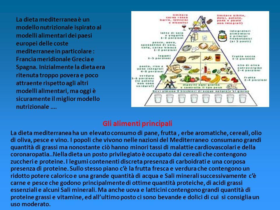 La dieta mediterranea è un modello nutrizionale ispirato ai modelli alimentari dei paesi europei delle coste mediterranee in particolare : Francia meridionale Grecia e Spagna.
