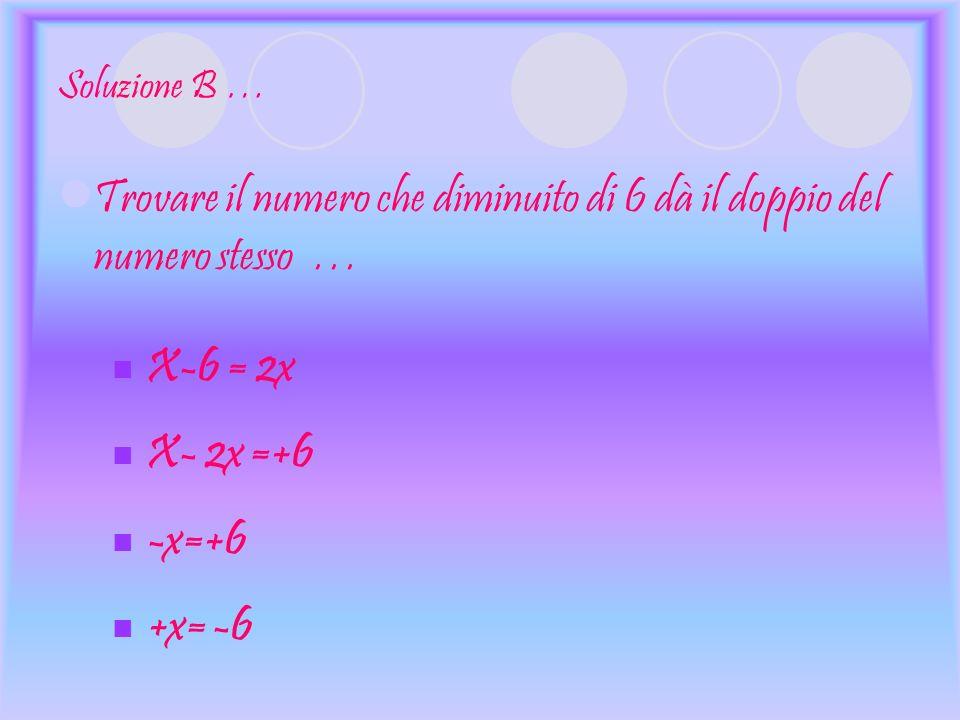 Soluzione B … Trovare il numero che diminuito di 6 dà il doppio del numero stesso … X-6 = 2x X- 2x =+6 -x=+6 +x= -6