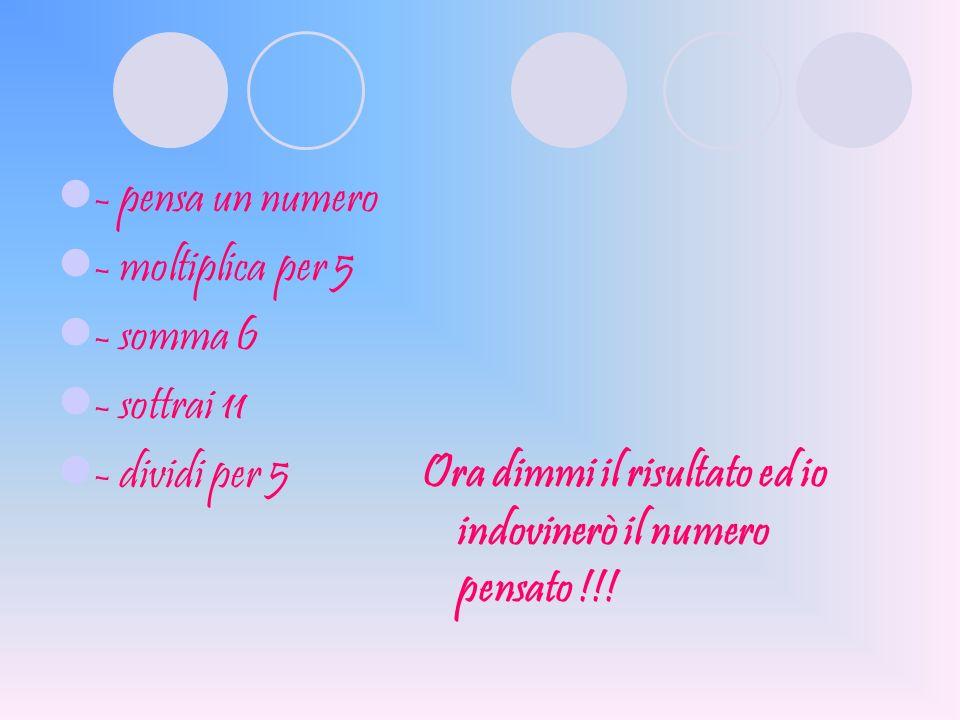 - pensa un numero - moltiplica per 5 - somma 6 - sottrai 11 - dividi per 5 Ora dimmi il risultato ed io indovinerò il numero pensato !!!