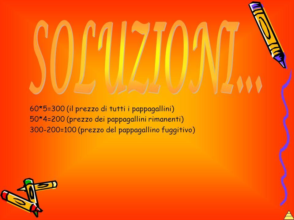 60*5=300 (il prezzo di tutti i pappagallini) 50*4=200 (prezzo dei pappagallini rimanenti) 300-200=100 (prezzo del pappagallino fuggitivo)