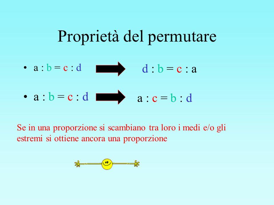 Proprietà del permutare a : b = c : d Se in una proporzione si scambiano tra loro i medi e/o gli estremi si ottiene ancora una proporzione d : b = c :