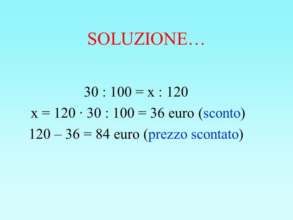 SOLUZIONE… 30 : 100 = x : 120 x = 120 · 30 : 100 = 36 euro (sconto) 120 – 36 = 84 euro (prezzo scontato)
