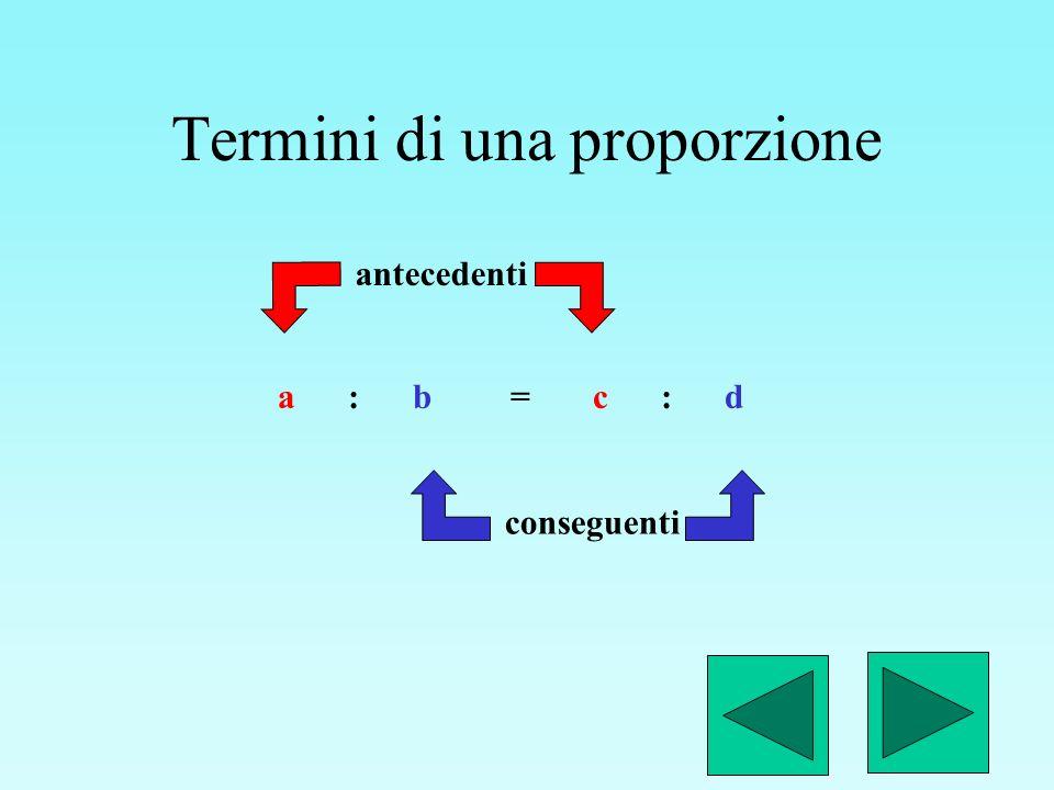 Particolare proporzione a : b = b : c medi uguali Se i medi (oppure gli estremi) sono uguali la proporzione è continua