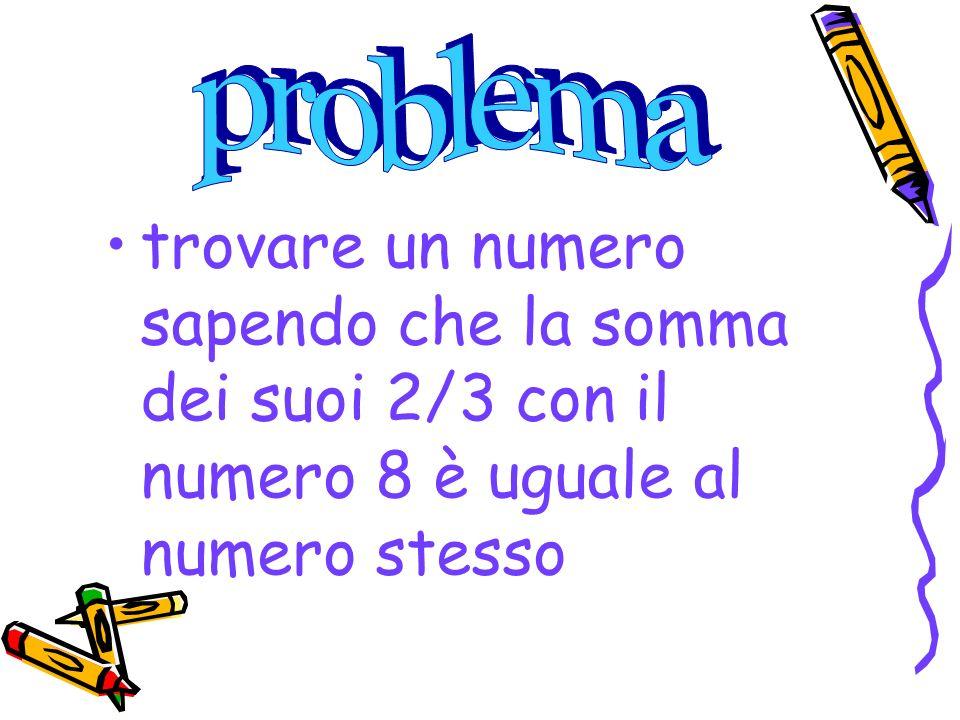 trovare un numero sapendo che la somma dei suoi 2/3 con il numero 8 è uguale al numero stesso