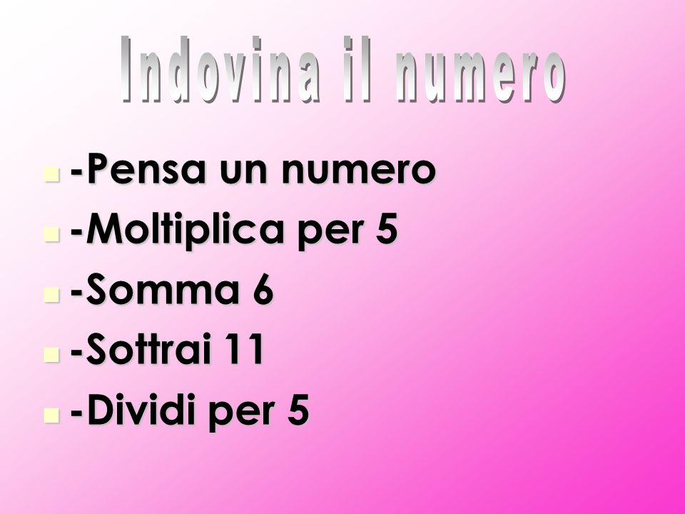 -Pensa un numero -Pensa un numero -Moltiplica per 5 -Moltiplica per 5 -Somma 6 -Somma 6 -Sottrai 11 -Sottrai 11 -Dividi per 5 -Dividi per 5