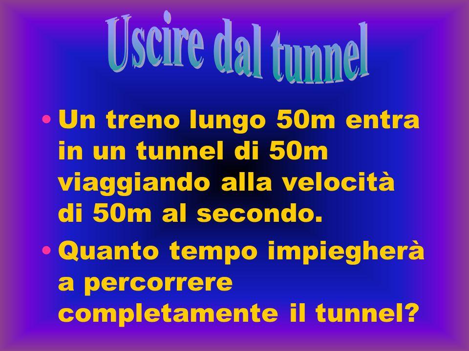 Un treno lungo 50m entra in un tunnel di 50m viaggiando alla velocità di 50m al secondo. Quanto tempo impiegherà a percorrere completamente il tunnel?