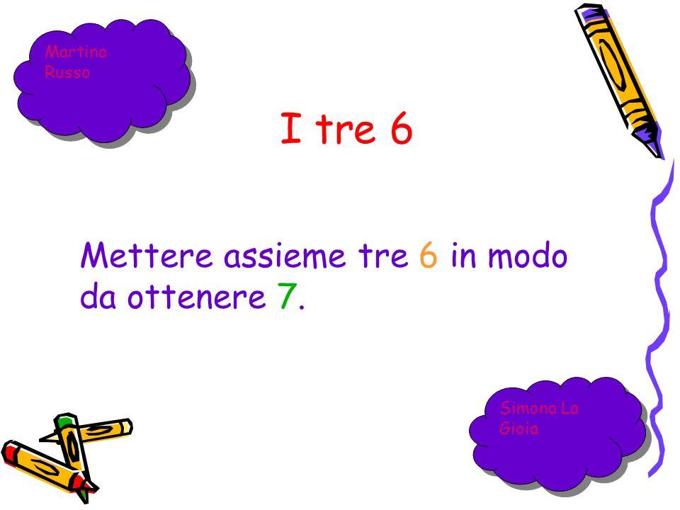 Loperazione per ottenere 7 da tre 6 è: 6:6+6=1+6=7