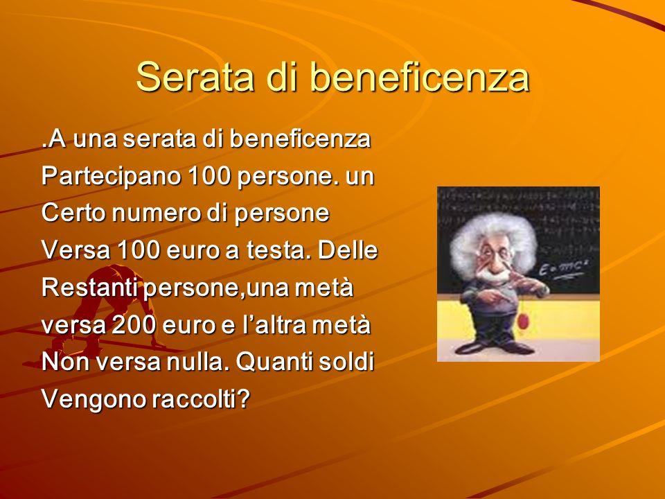 Serata di beneficenza.A una serata di beneficenza Partecipano 100 persone. un Certo numero di persone Versa 100 euro a testa. Delle Restanti persone,u