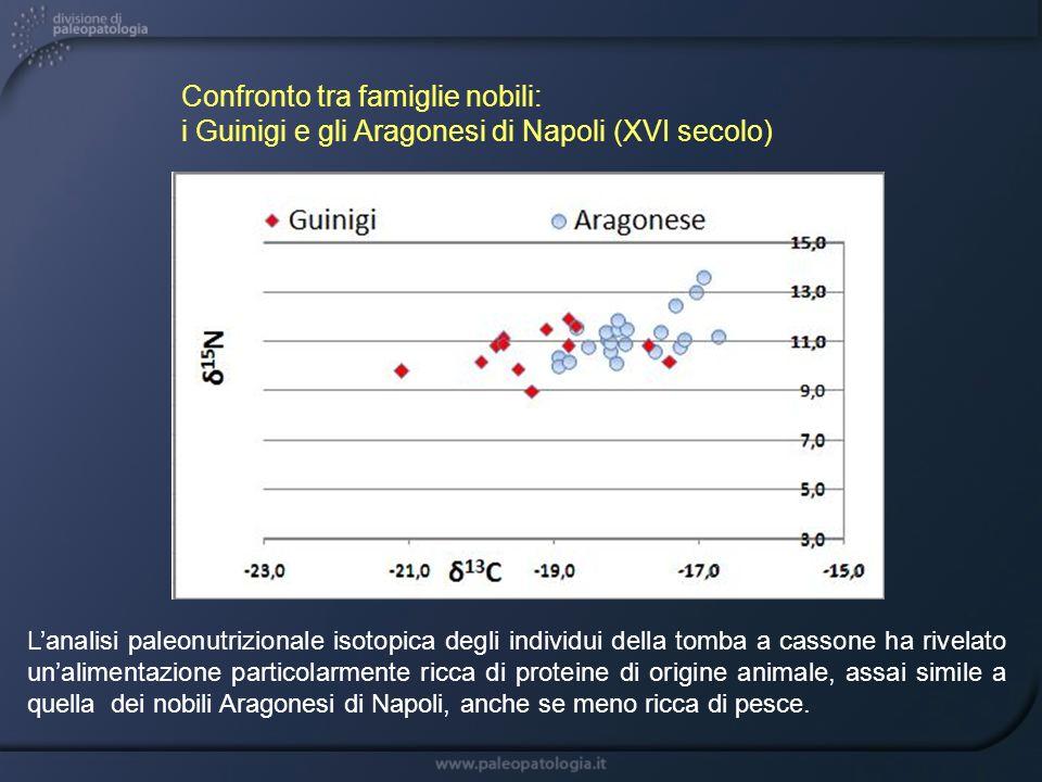 Confronto tra famiglie nobili: i Guinigi e gli Aragonesi di Napoli (XVI secolo) Lanalisi paleonutrizionale isotopica degli individui della tomba a cas