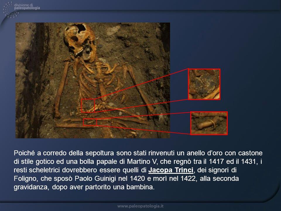 Poiché a corredo della sepoltura sono stati rinvenuti un anello doro con castone di stile gotico ed una bolla papale di Martino V, che regnò tra il 14