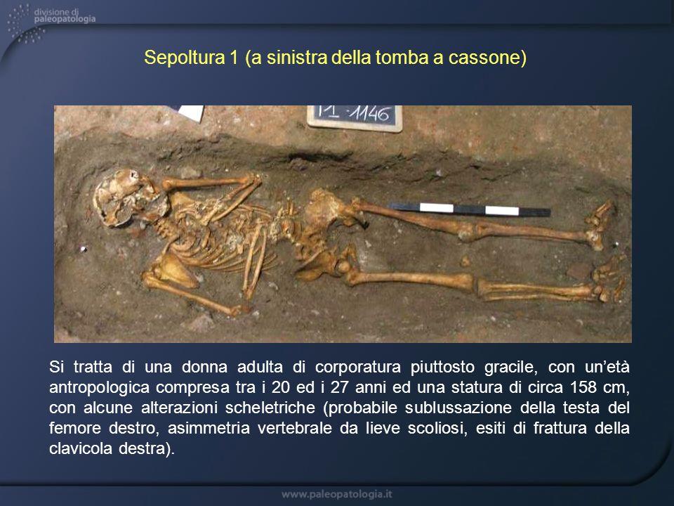 Si tratta di una donna adulta di corporatura piuttosto gracile, con unetà antropologica compresa tra i 20 ed i 27 anni ed una statura di circa 158 cm,