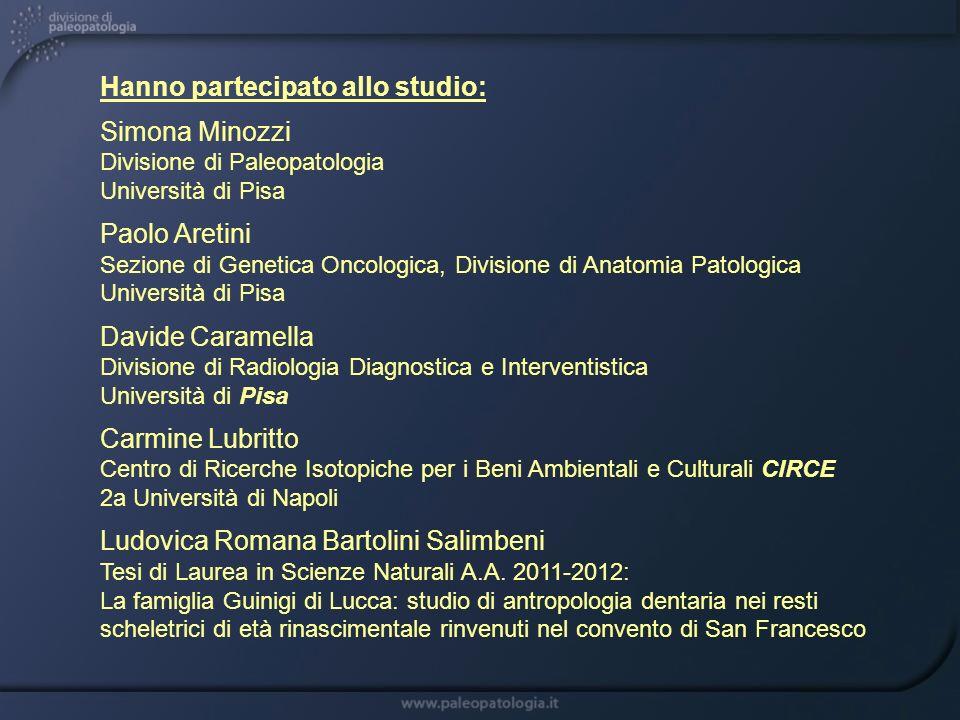 Hanno partecipato allo studio: Simona Minozzi Divisione di Paleopatologia Università di Pisa Paolo Aretini Sezione di Genetica Oncologica, Divisione d