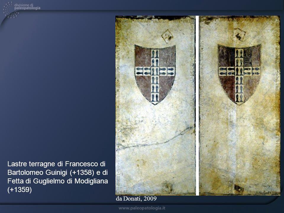 Lastre terragne di Francesco di Bartolomeo Guinigi (+1358) e di Fetta di Guglielmo di Modigliana (+1359) da Donati, 2009