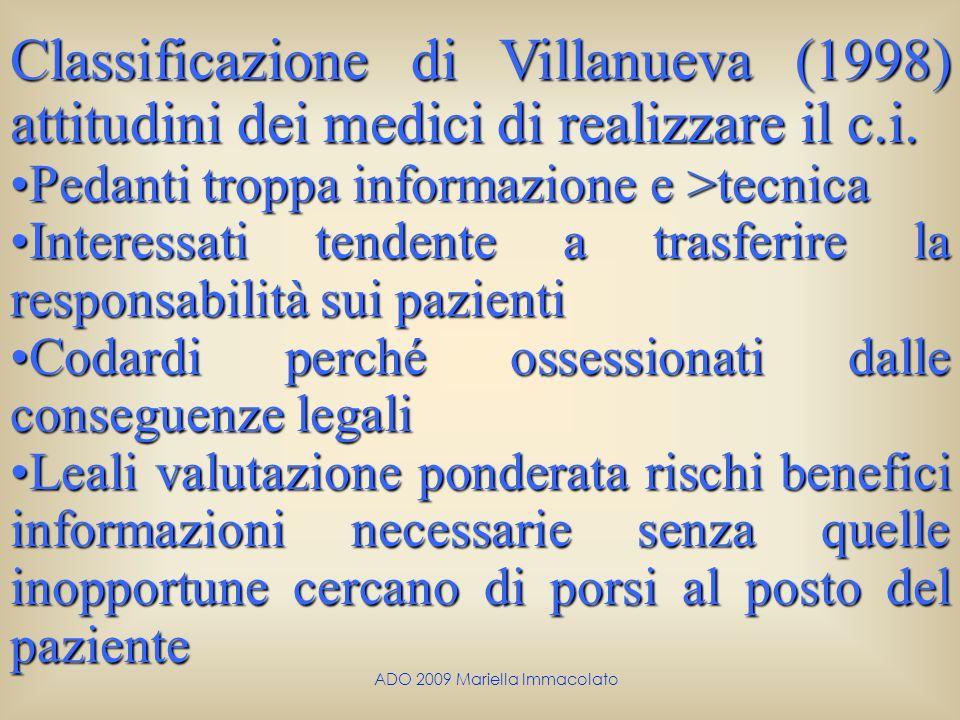 ADO 2009 Mariella Immacolato Classificazione di Villanueva (1998) attitudini dei medici di realizzare il c.i. Pedanti troppa informazione e >tecnicaPe