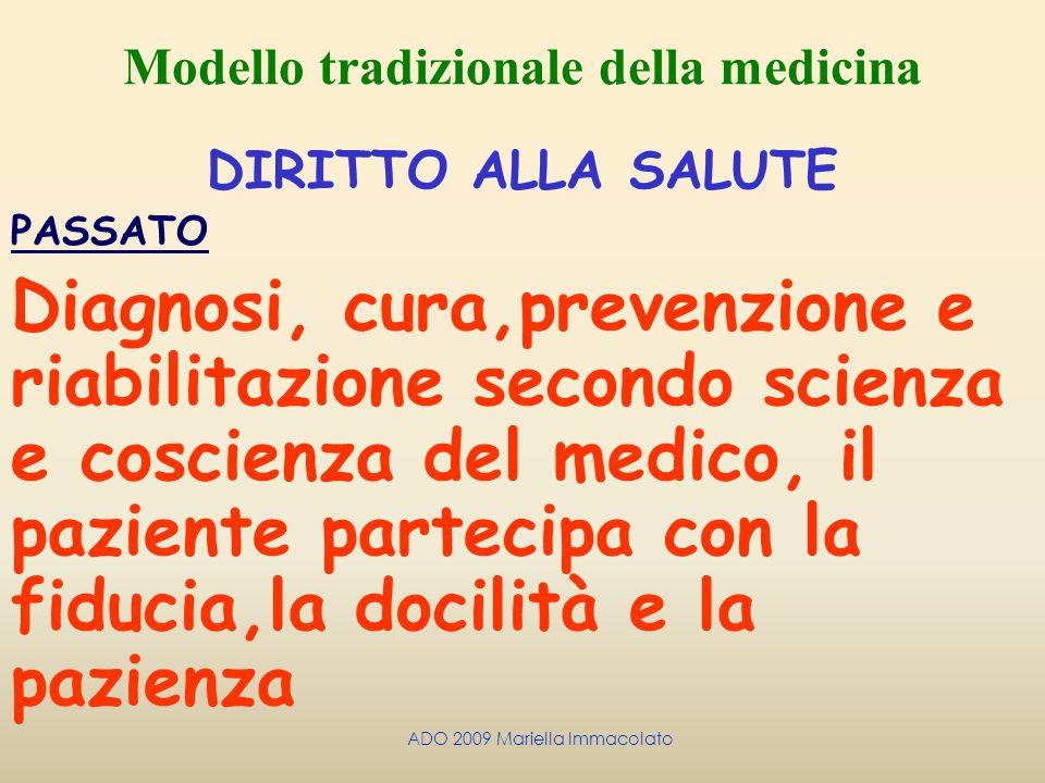 ADO 2009 Mariella Immacolato Modello tradizionale della medicina DIRITTO ALLA SALUTE PASSATO Diagnosi, cura,prevenzione e riabilitazione secondo scien