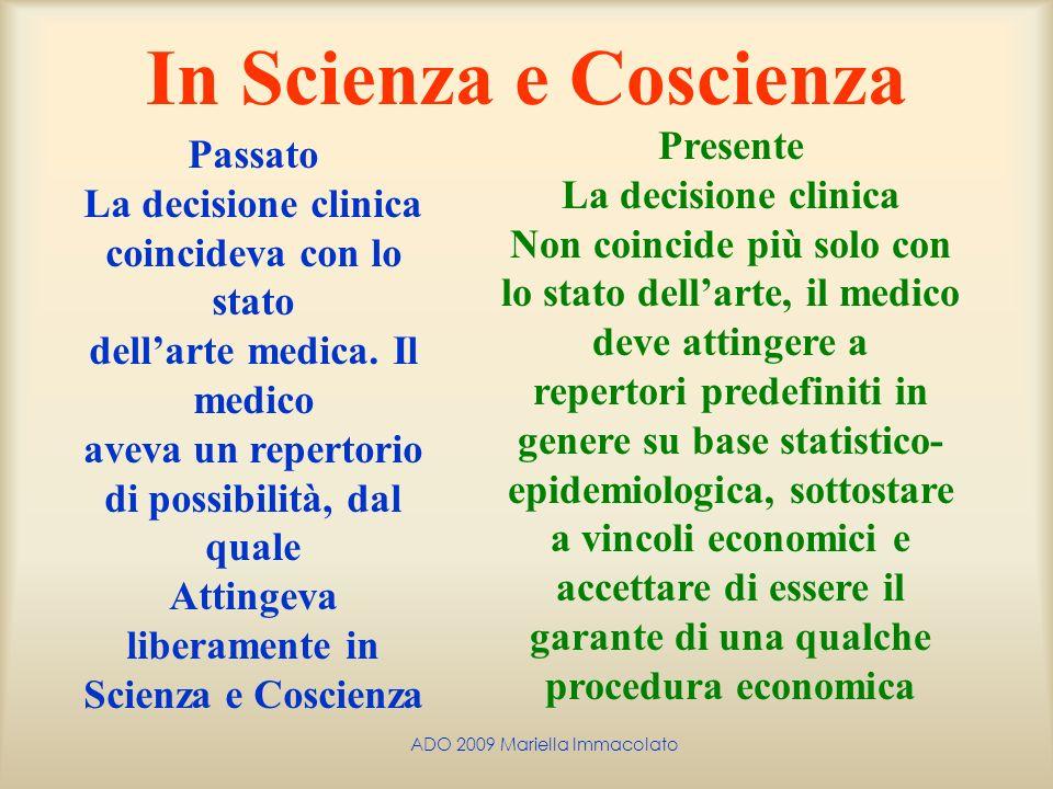 ADO 2009 Mariella Immacolato In Scienza e Coscienza Passato La decisione clinica coincideva con lo stato dellarte medica. Il medico aveva un repertori