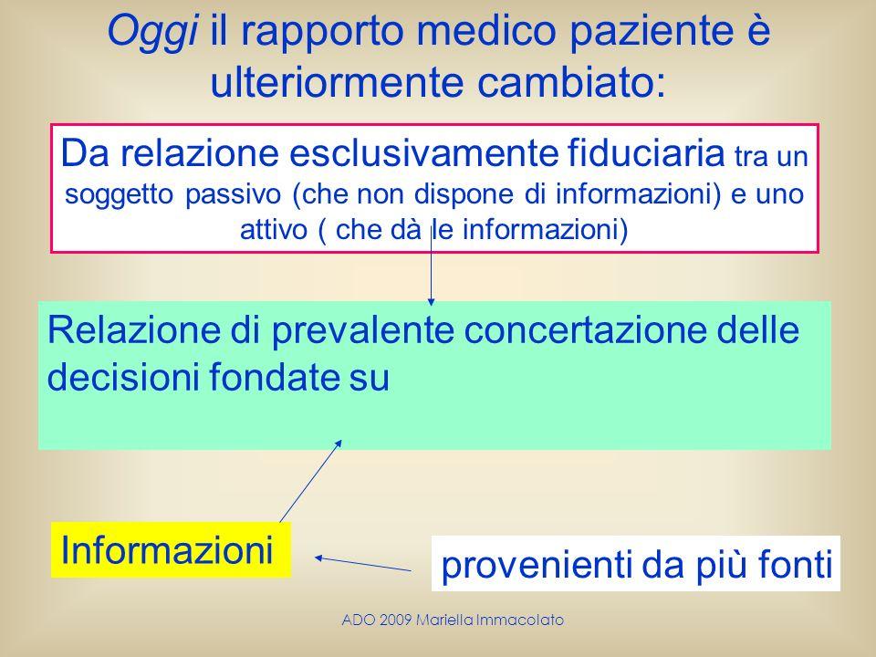 ADO 2009 Mariella Immacolato Oggi il rapporto medico paziente è ulteriormente cambiato: Relazione di prevalente concertazione delle decisioni fondate