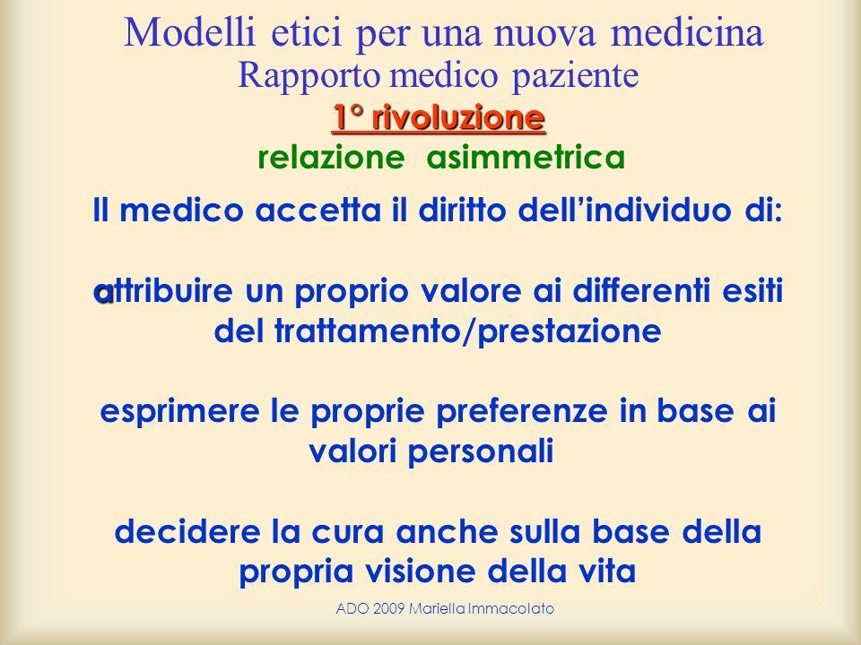 ADO 2009 Mariella Immacolato 1° rivoluzione a Rapporto medico paziente 1° rivoluzione relazione asimmetrica Il medico accetta il diritto dellindividuo