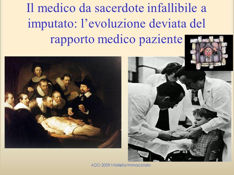ADO 2009 Mariella Immacolato Il medico da sacerdote infallibile a imputato: levoluzione deviata del rapporto medico paziente