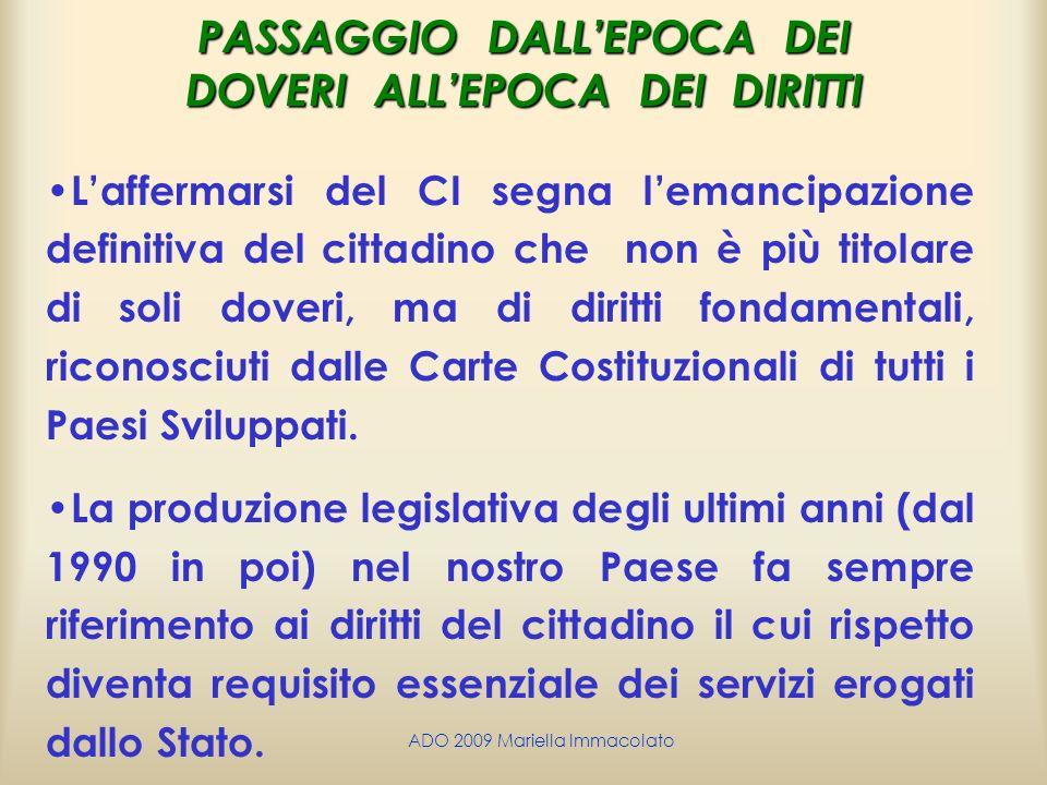 ADO 2009 Mariella Immacolato PASSAGGIO DALLEPOCA DEI DOVERI ALLEPOCA DEI DIRITTI Laffermarsi del CI segna lemancipazione definitiva del cittadino che