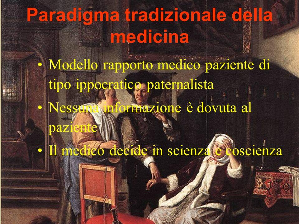 ADO 2009 Mariella Immacolato Paradigma tradizionale della medicina Modello rapporto medico paziente di tipo ippocratico paternalista Nessuna informazi
