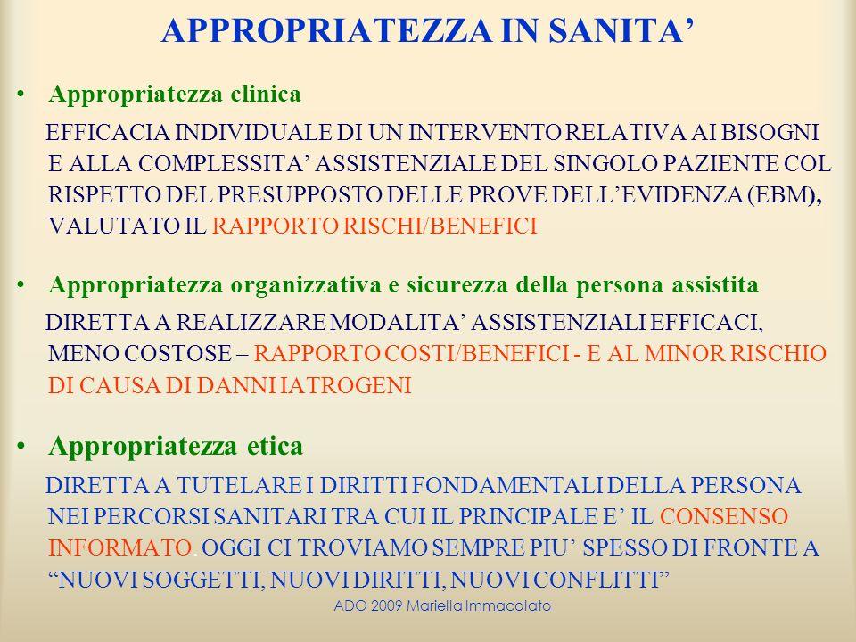 ADO 2009 Mariella Immacolato APPROPRIATEZZA IN SANITA Appropriatezza clinica EFFICACIA INDIVIDUALE DI UN INTERVENTO RELATIVA AI BISOGNI E ALLA COMPLES