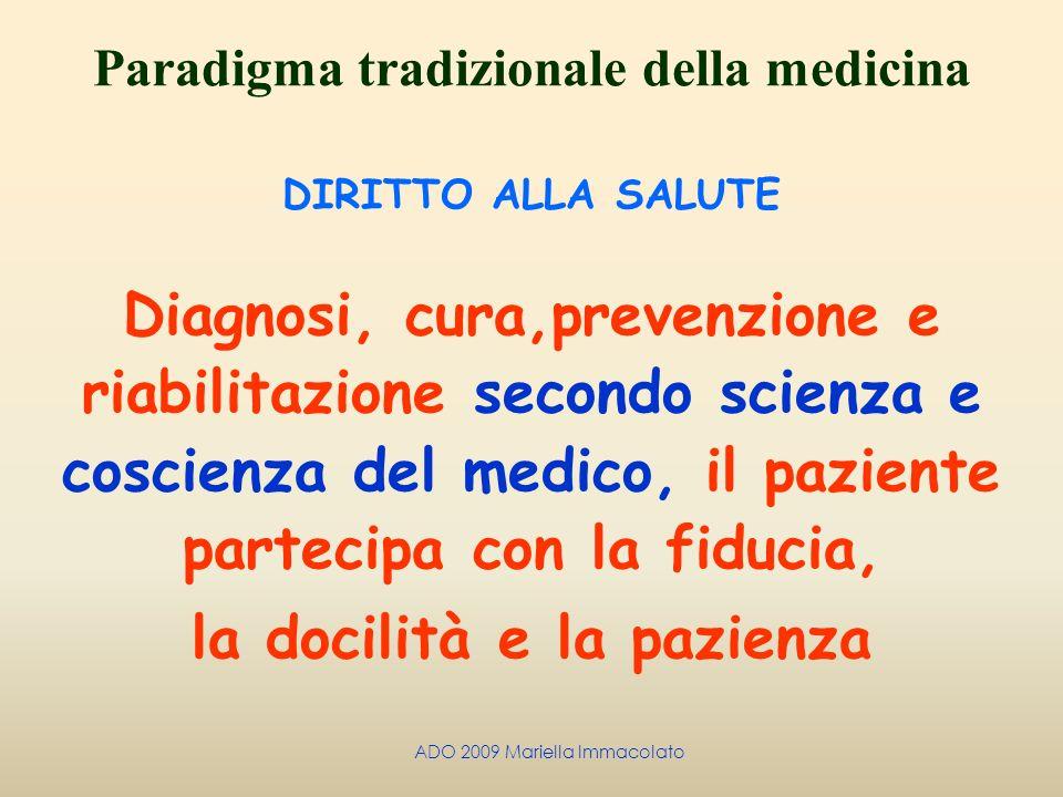 ADO 2009 Mariella Immacolato Paradigma tradizionale della medicina DIRITTO ALLA SALUTE Diagnosi, cura,prevenzione e riabilitazione secondo scienza e c