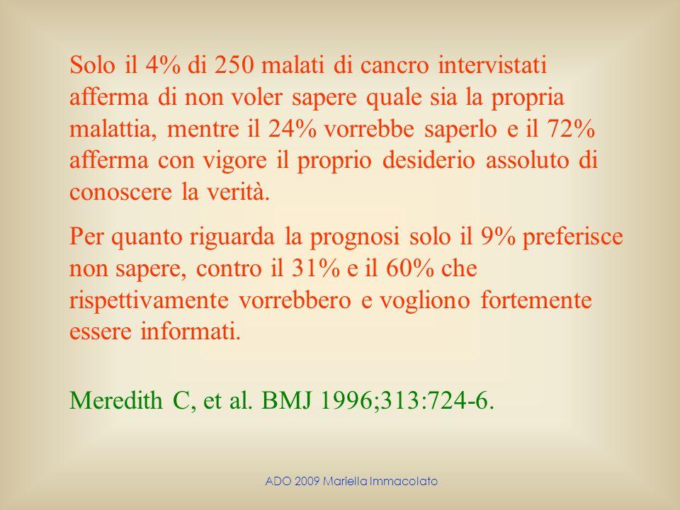 ADO 2009 Mariella Immacolato Solo il 4% di 250 malati di cancro intervistati afferma di non voler sapere quale sia la propria malattia, mentre il 24%