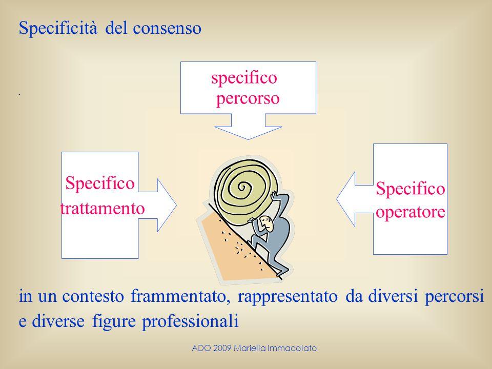 ADO 2009 Mariella Immacolato Specificità del consenso - in un contesto frammentato, rappresentato da diversi percorsi e diverse figure professionali S