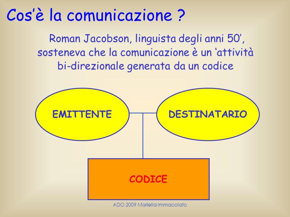 ADO 2009 Mariella Immacolato Roman Jacobson, linguista degli anni 50, sosteneva che la comunicazione è un attività bi-direzionale generata da un codic