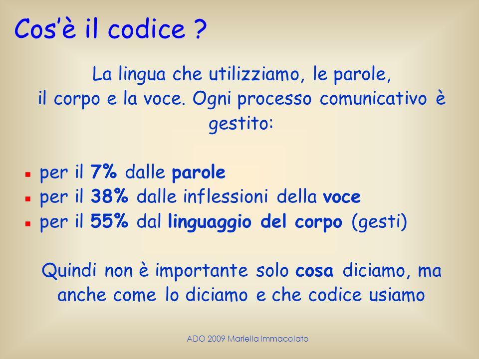 ADO 2009 Mariella Immacolato Cosè il codice ? La lingua che utilizziamo, le parole, il corpo e la voce. Ogni processo comunicativo è gestito: per il 7